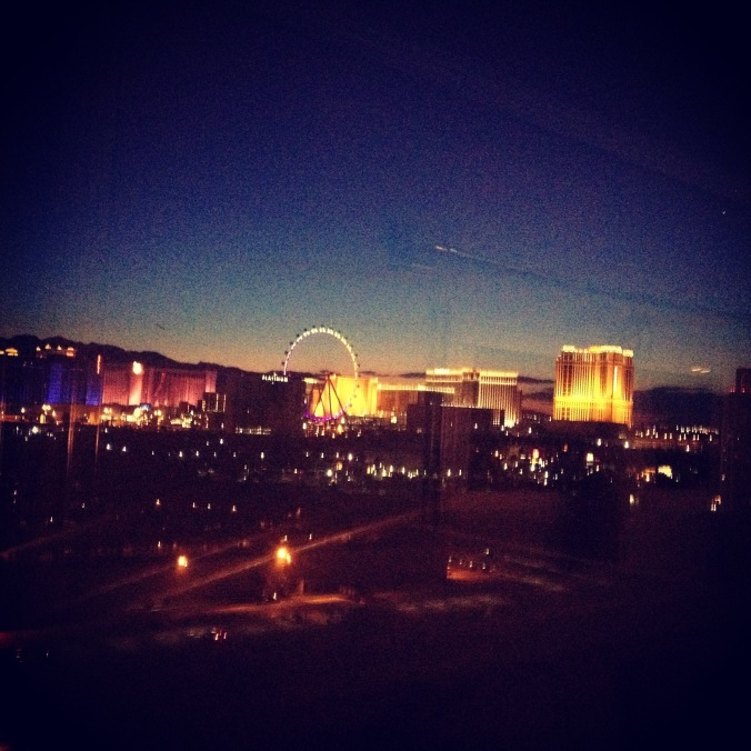 Lights of Vegas outside our window.